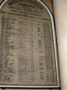 Roll of Honour East Ham United Synagogue.